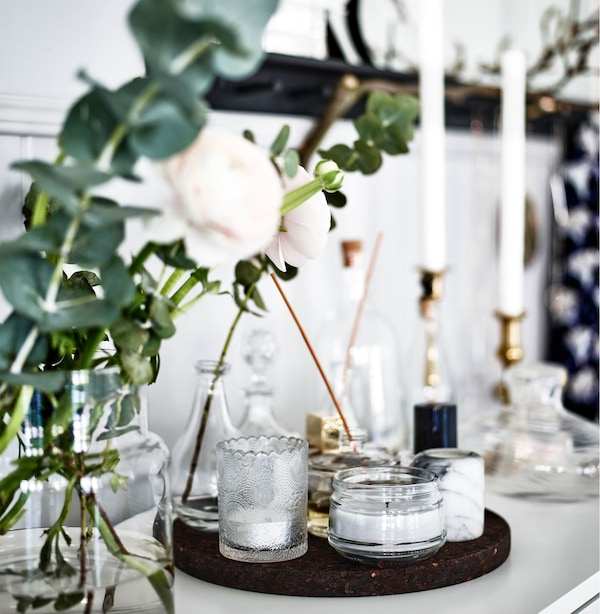 A scent station with candles, flowers and perfumes. What's your dream bedroom?