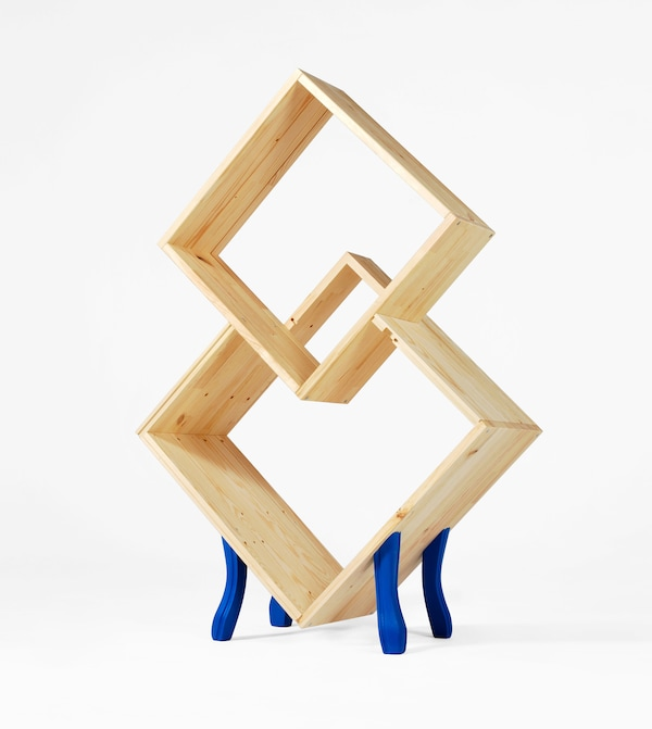 A sculpture made from wooden IKEA products.