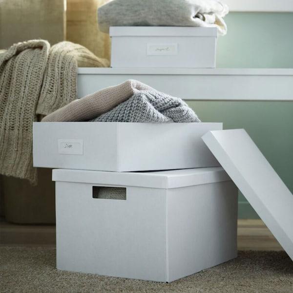 A seleciton of white TJENA storage boxes.