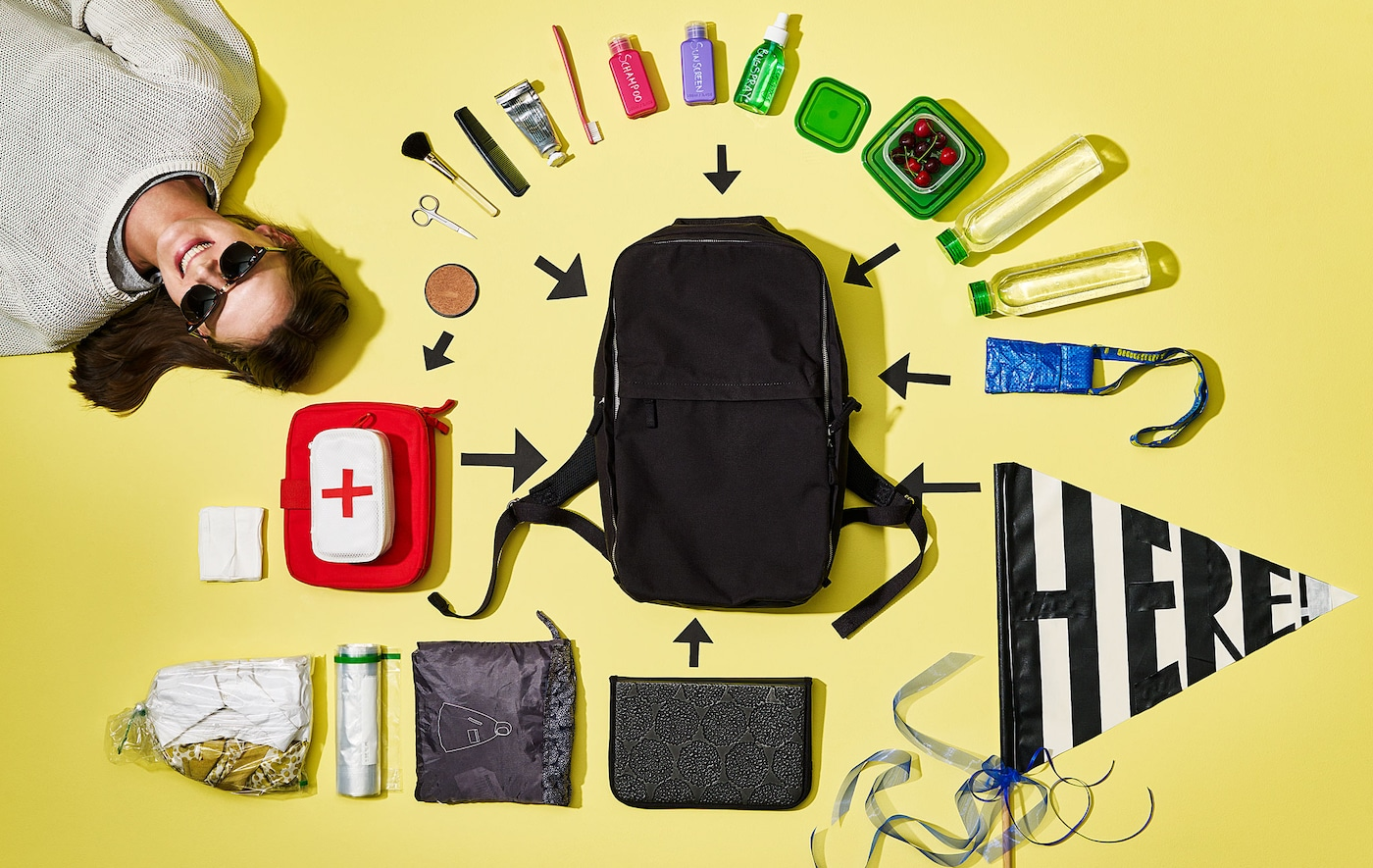 A shot from above shows the contents of a backpack neatly organised on a yellow background.