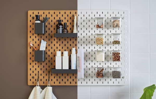 A side-by-side image of a brown pegboard in a bathroom and a white pegboard in a kitchen.