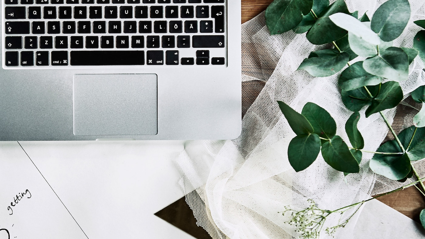 A silver laptop, white paper, off-white mesh textile, and a eucalyptus branch are all laid out on a wooden surface.