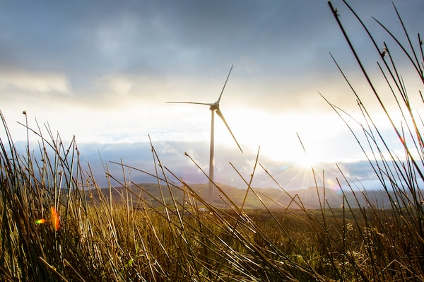 A single white turbine is situated in a field. The sun is shining through grey clouds in the background.
