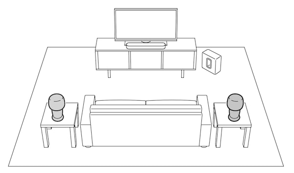 A sketch representation of a room containing a home theatre system with a sofa and two small tables.