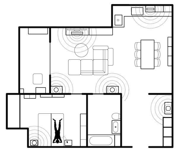A sketch-up of a home showing different placements of speakers in the rooms, and illustrated with sound waves.