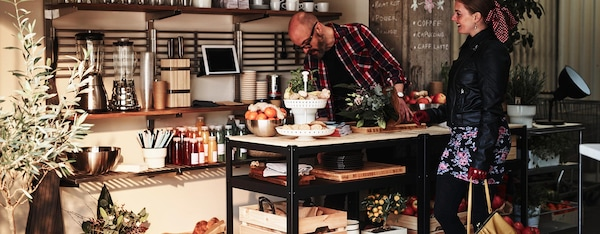 A small business using IKEA furniture for display and as a counter