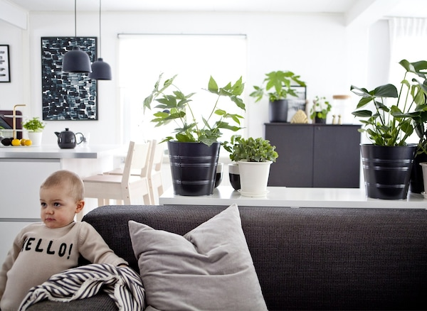 A small child leaning on a grey sofa in a monochrome open-plan living space.