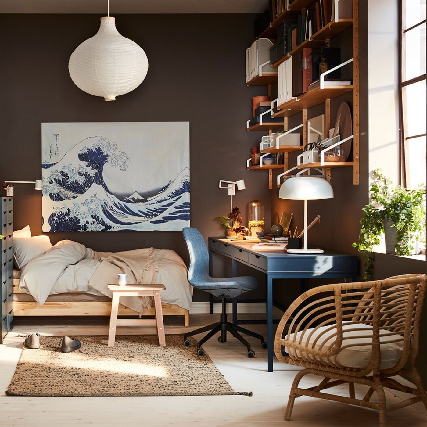 a small home with a dark blue desk a rattan armchair a white aeaac9ff31f033fdaa874367ea95d0b4 - 34+ Small House Low Cost Small Space Simple Living Room Design Images