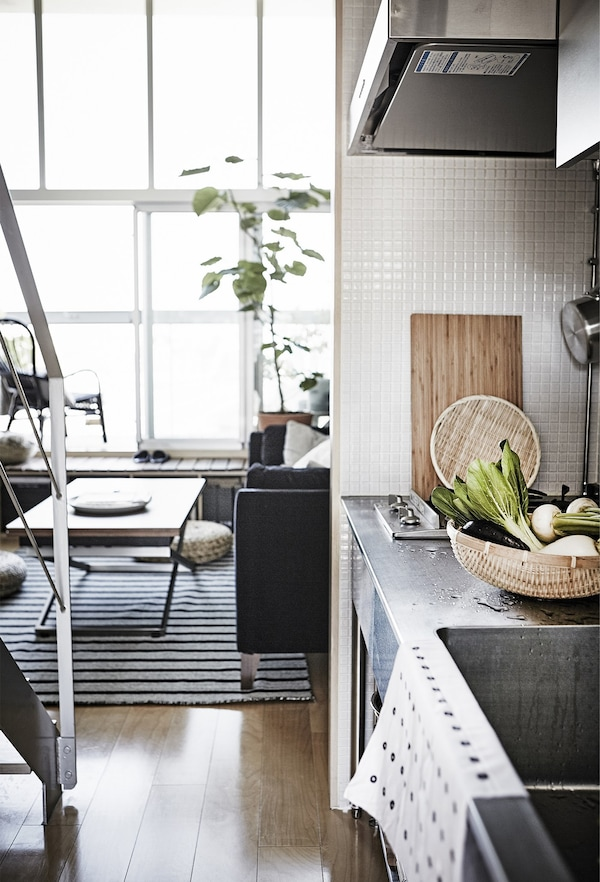 A small-space kitchen area.