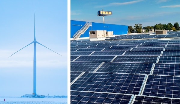 A split image of a wind turbine against a blue sky background and an IKEA rooftop covered in solar panels.