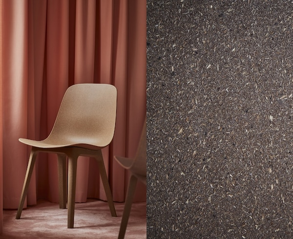 A split photo showing a finished scooped ODGER dining chair and a closeup of natural composite material.
