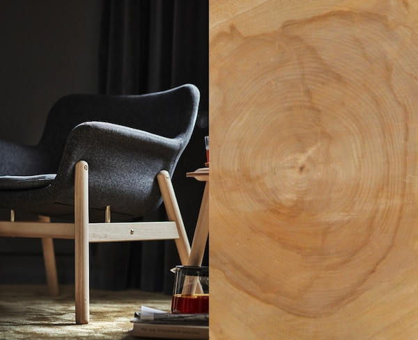 A split photo showing a wood plank and a finished VEDBO armchair with wooden legs and frame.