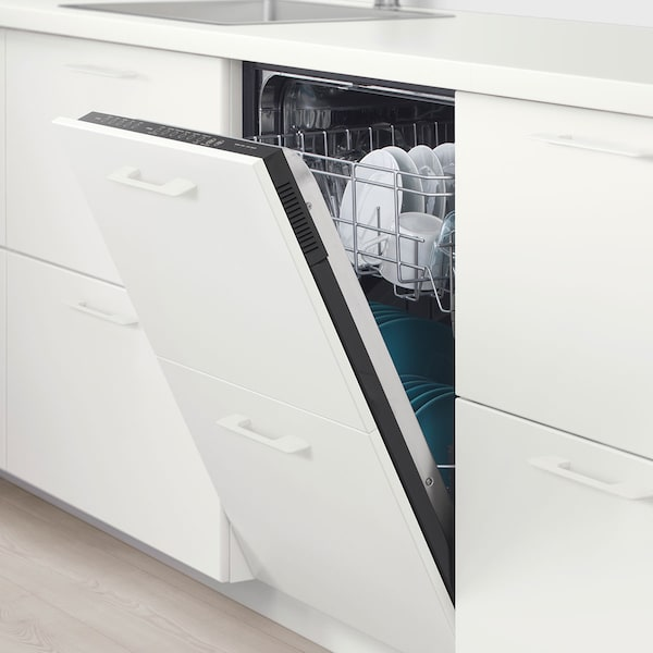 A SPOLAD dishwasher with the door halfway open