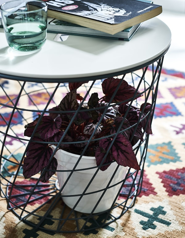 A storage table with a plant inside the base, on a patterned rug.