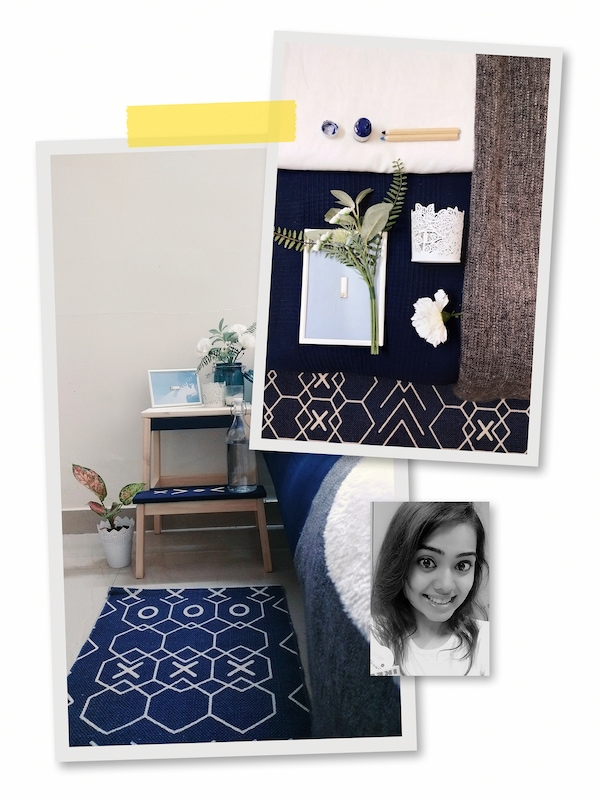 A three-image collage: a BEKVÄM stool placed by a bed, painted blue to match the room, and an image of an IKEA co-worker.