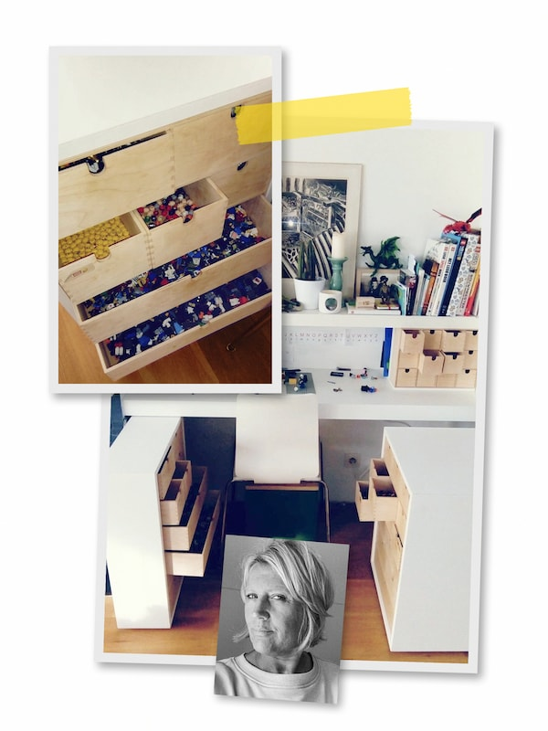 A three-image collage: a child's desk surrounded by easy-to-reach building-block storage, and an image of an IKEA co-worker.