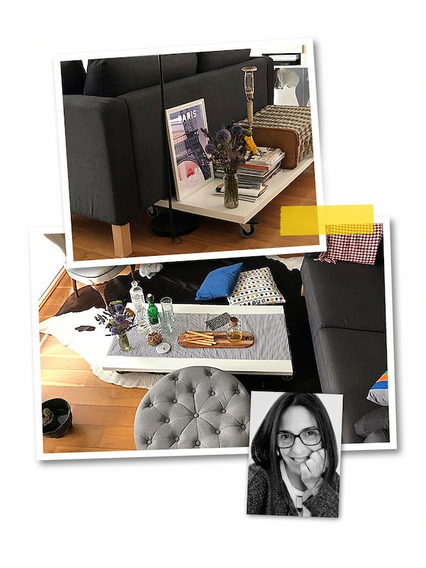 A three-image collage: a coffee table made of a white LINNMON table top and RILL castors, and an image of an IKEA co-worker.