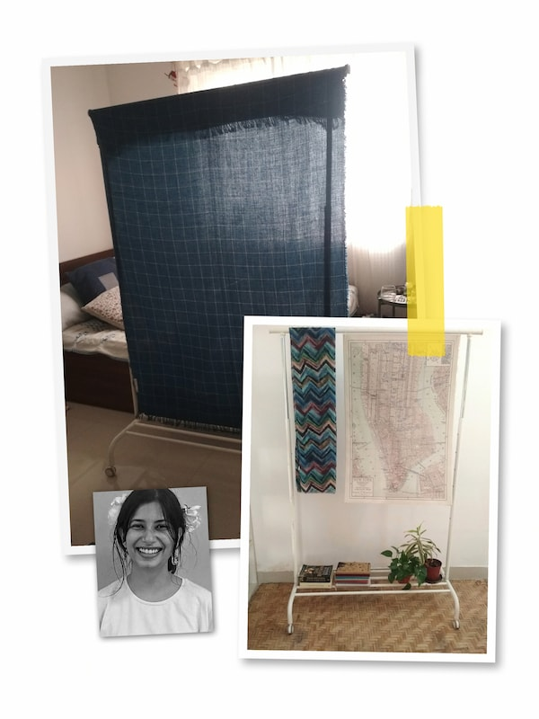 A three-image collage: a MULIG clothes rack used as a room divider and as decoration, and a portrait of an IKEA co-worker.