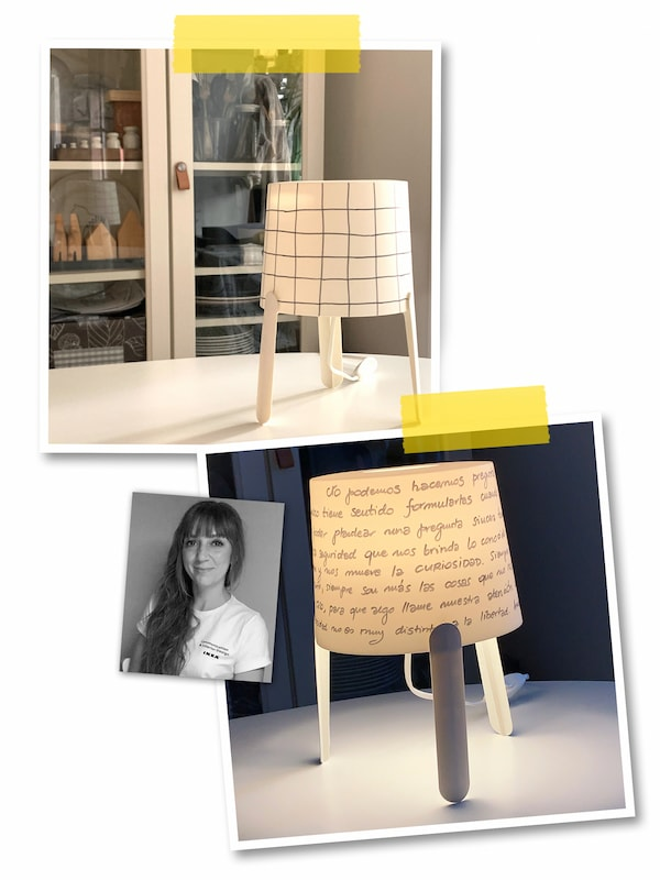 A three-image collage: two white TVÄRS lamps where both have hand-decorated shades, and a portrait of an IKEA co-worker.