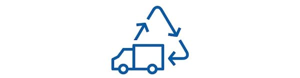 A truck and a recycling logo