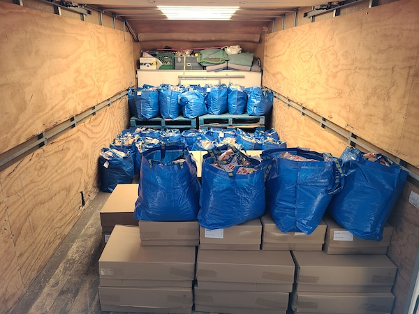 A truck filled with donations