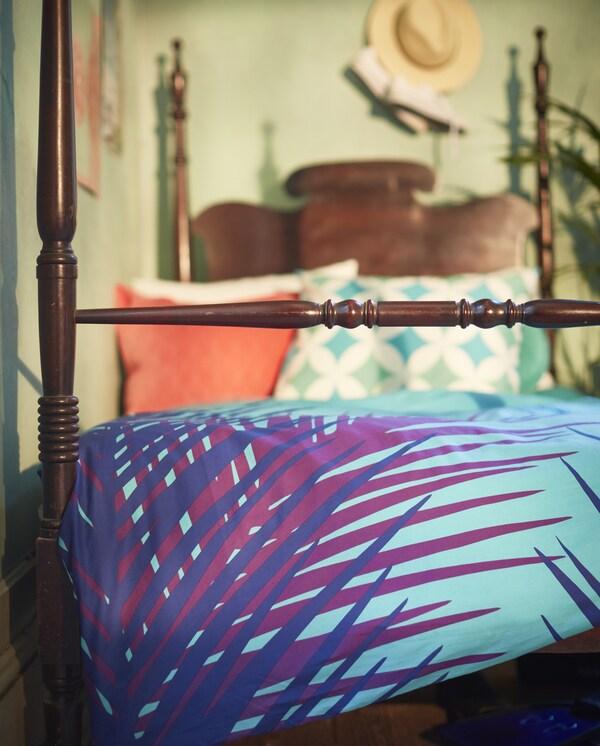 A türkiz színű GRACIOS ágyneműhuzat friss hangulatot teremt a hálószobában.