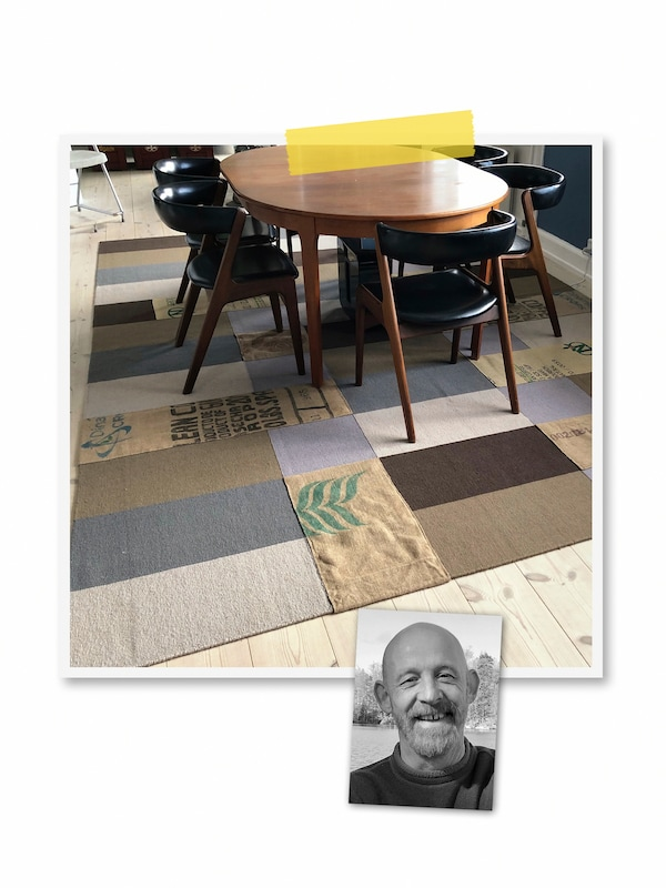 A two-image collage: a block-pattern STOCKHOLM rug with coffee-bag patches sewn onto it, and a portrait of an IKEA co-worker.