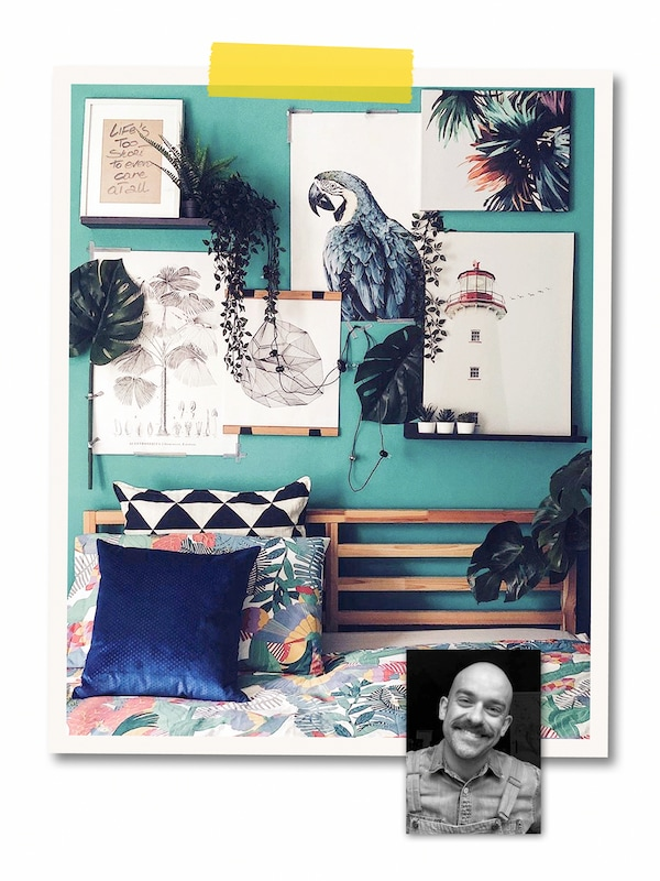 A two-image collage: a green wall covered with art, some hung, some on MOSSLANDA ledges, and a portrait of an IKEA co-worker.