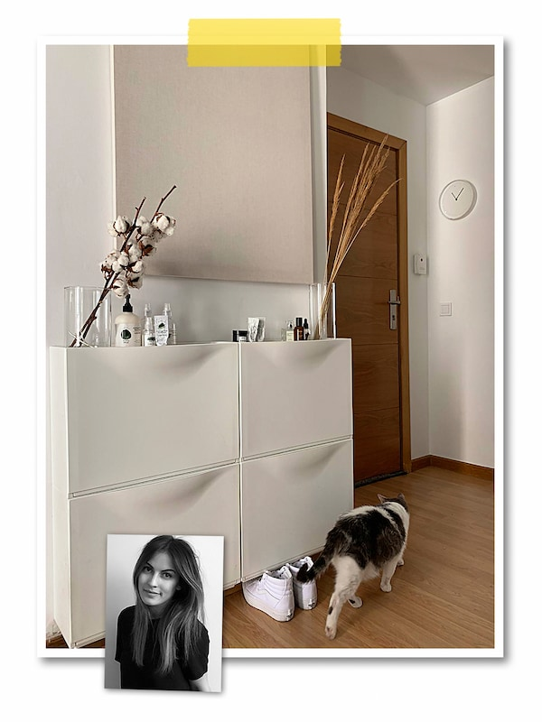 A two-image collage: a hallway with parallel, white TRONES shoe cabinets, vases on top, and an image of an IKEA co-worker.