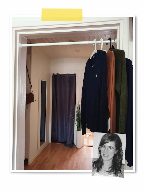 A two-image collage: a room with one doorway curtained, another with a rod with hangers, and an image of an IKEA co-worker.