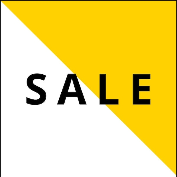 A white and yellow banner that says SALE in black text.