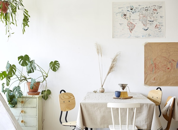 A white dining area with wooden chairs and a large Swiss cheese plant.