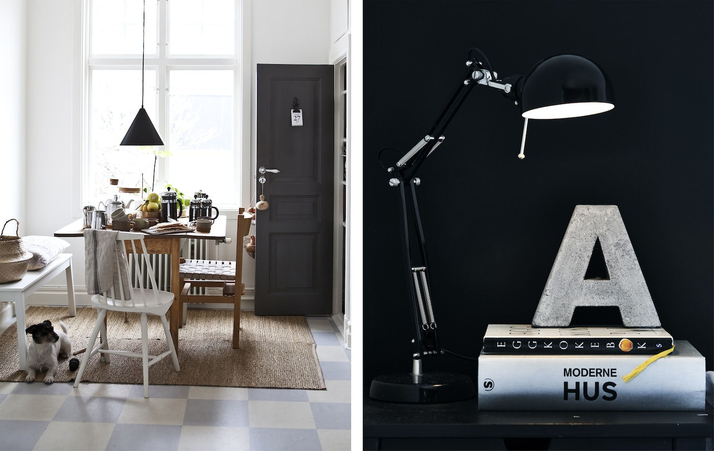 A white dining room and a close-up of a lamp on a bedside table against a black wall.