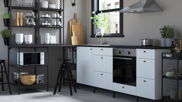 A white ENHET kitchen in front of a window