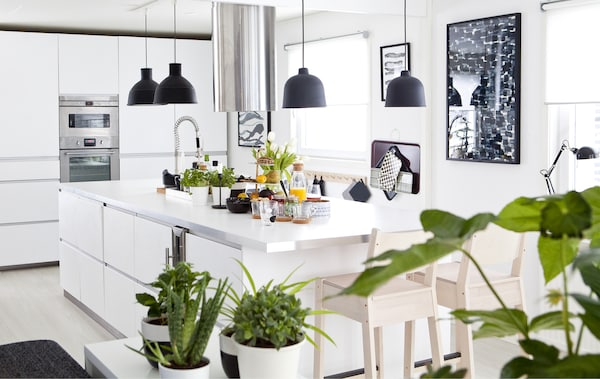 A white kitchen with black details and greenery.