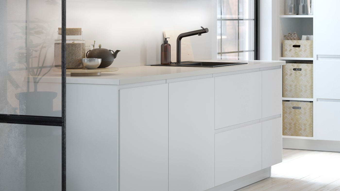Get a modern look with the matt white VOXTORP kitchen - IKEA CA