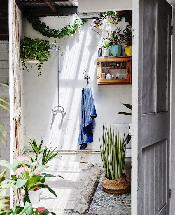 A white outdoor shower room with lots of plants.