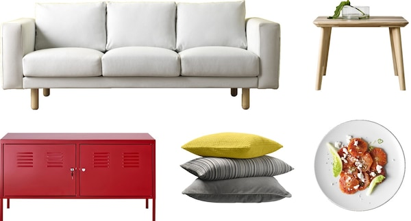 A white sofa, red cabinet with doors, pillows, a side table, and a plate with food against a white background.