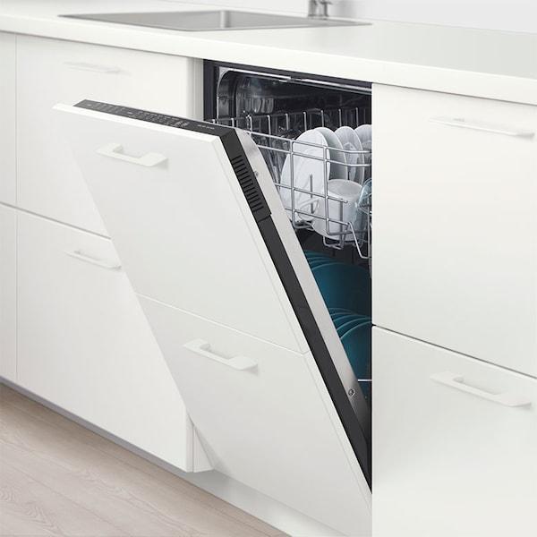 A white SPOLAD built-in dishwasher