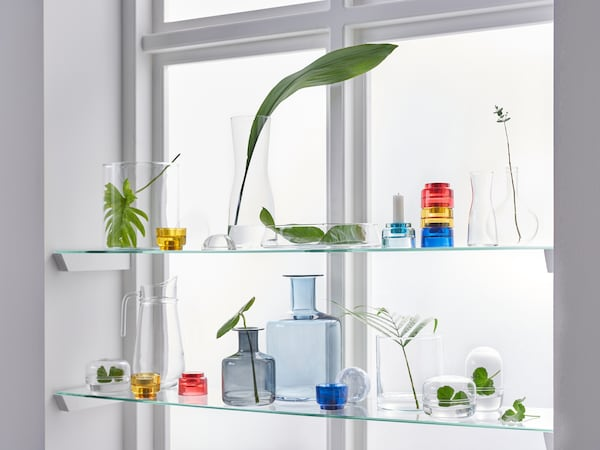 A window with light shining through it, and some glass shelves in the window containing glass bottles, jars and plants.