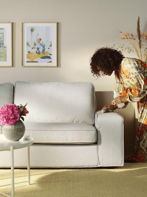 A woman cleaning a light-gray sofa arm with pictures mounted on the wall and a flower pot on a table.