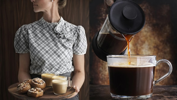 A woman holding a tray of cinnamon buns and coffee and a close-up of coffee being poured into a glass cup.