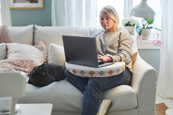 A woman using her laptop