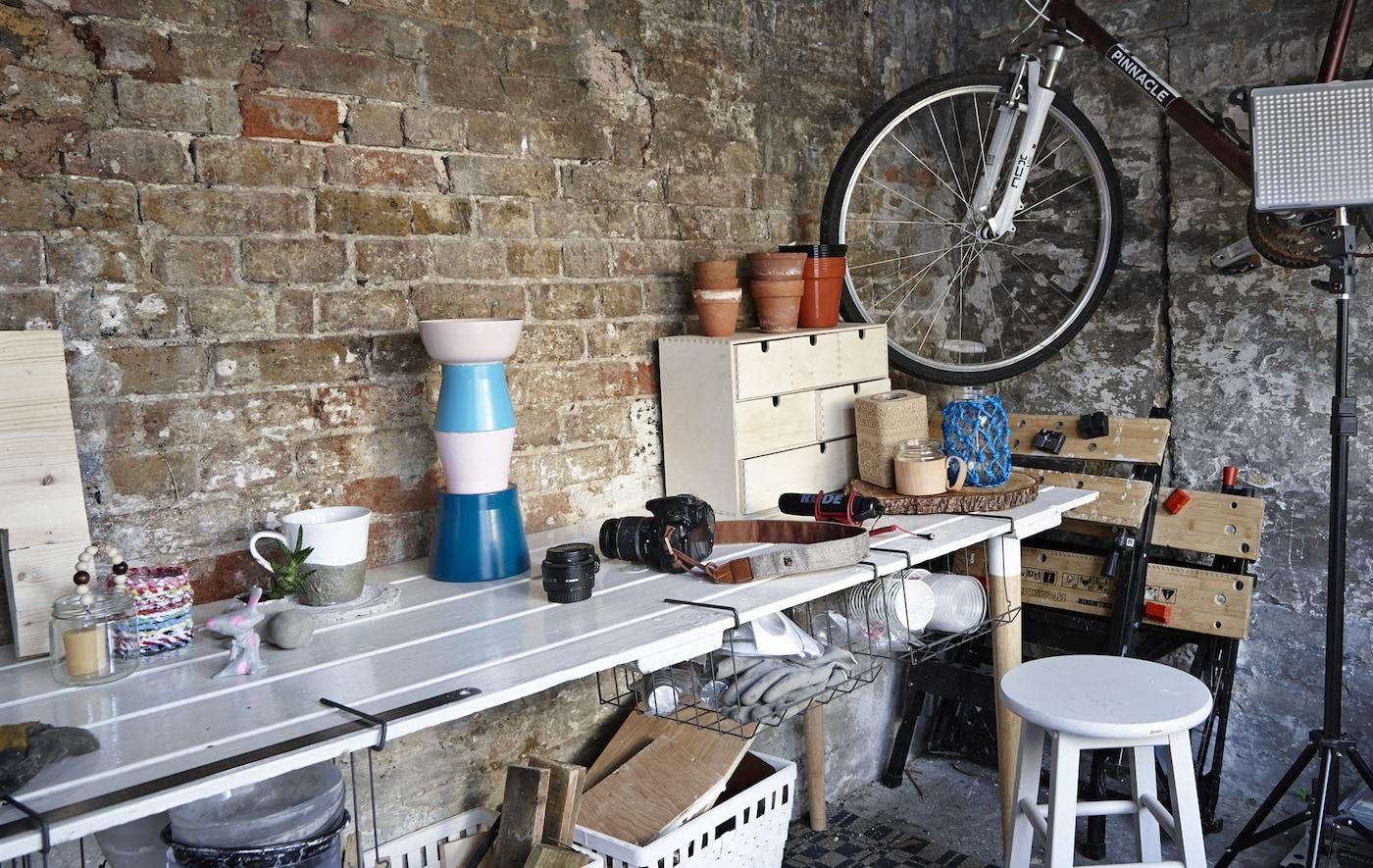 A workspace with plenty of storage