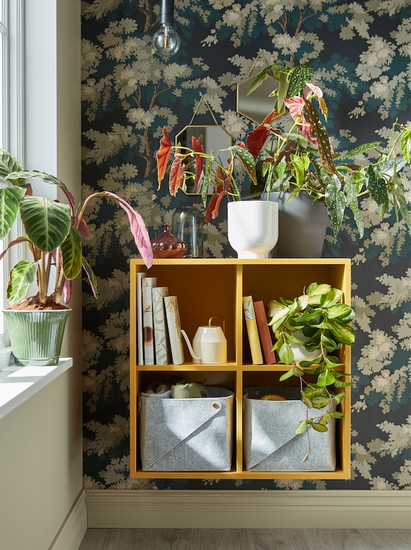 A yellow EKET shelf unit mounted on the wall next to a window with plants on top of it and inside it, together with books.