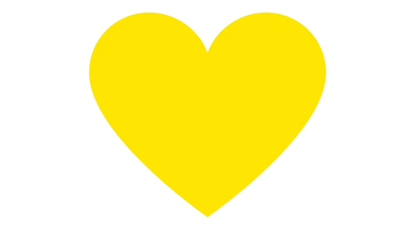 A yellow heart on a white background.