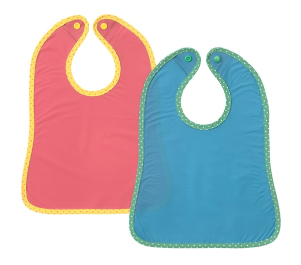 MATVRÅ children's bib, Blue/Red 2-pack