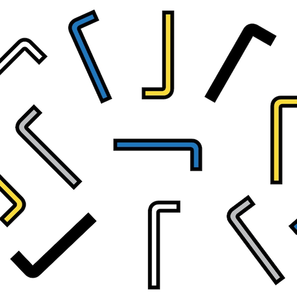 A collage of blue, yellow, white, gray and black allen keys.