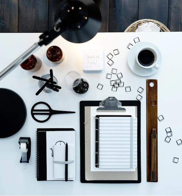 Stationary objects on white desk