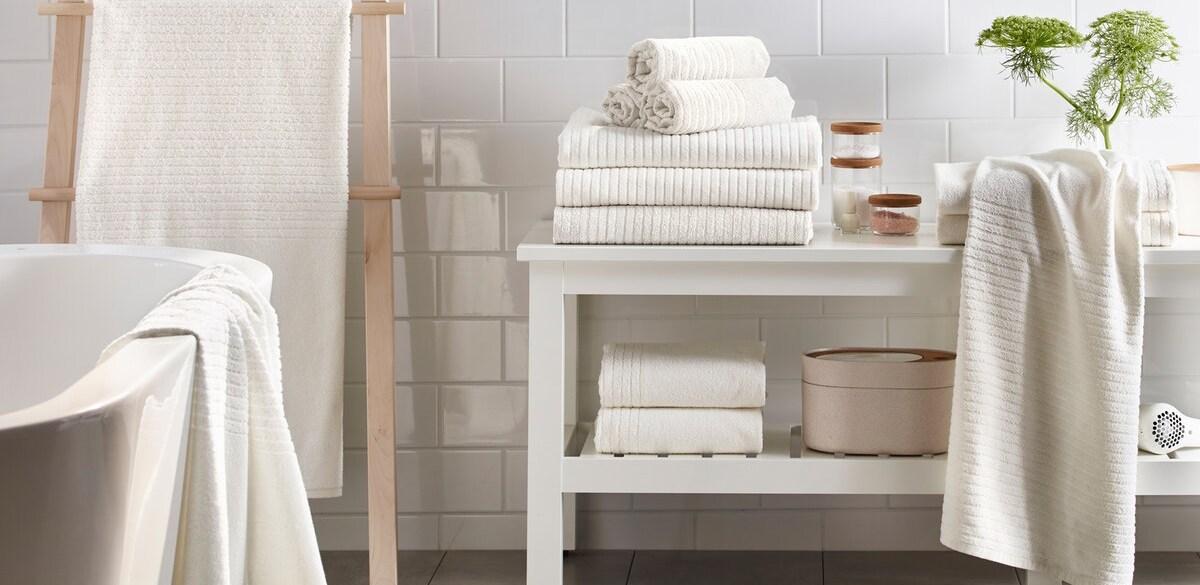White VÅGSJÖN towels on a bathroom bench